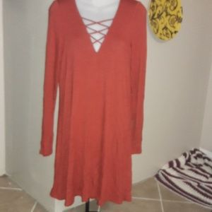 Womens sz M EXPRESS rustic reddish orange dress